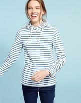 Joules Womens Austell Hooded Towelling Sweatshirt in Cotton in Blue Marl Stripe