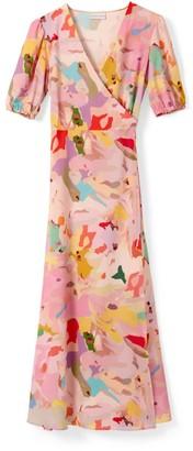 Phoebe Grace Joyce V-Neck Maxi Wrap Puff Sleeved Dress In Camo Print