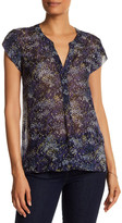 Joie Short Sleeve Print Silk Blouse