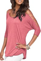 Vogue of Eden Women's 3/4 Sleeve Hollow Out Cold Shoulder Blouse Tops