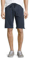 Zachary Prell Knit Drawstring Raw-Edge Shorts, Navy