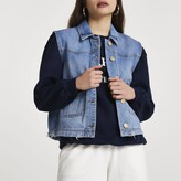 Thumbnail for your product : River Island Womens Denim sleeveless trucker jacket