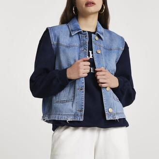 River Island Womens Denim sleeveless trucker jacket