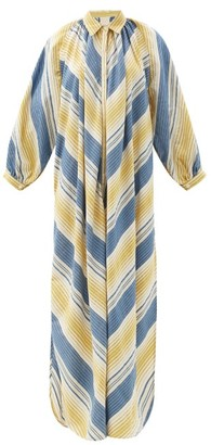 Marrakshi Life - Gathered Striped Cotton-blend Tunic Shirt Dress - Multi Stripe