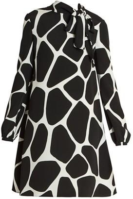 Valentino Giraffe-Print Tieneck Silk Shift Dress