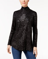 JM Collection Metallic-Print Turtleneck Top, Only at Macy's