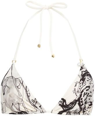 Stella McCartney Embellished Printed Triangle Bikini Top