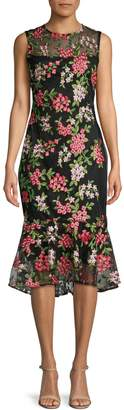 Calvin Klein Floral Lace High-Low Sheath Dress