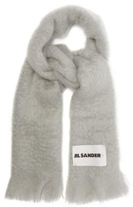 Jil Sander Fringed Mohair-blend Scarf - Grey