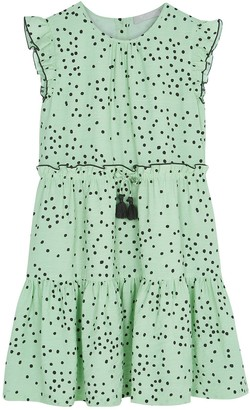 Mintie By Mint Velvet Girls Lila Green Spot Dress - Green
