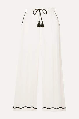 Morgan Lane - Petal Cropped Paneled Crinkled-charmeuse Pajama Pants - Ivory