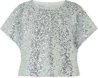 Under Armour Dawn Sequin Flutter Sleeve Top Silver