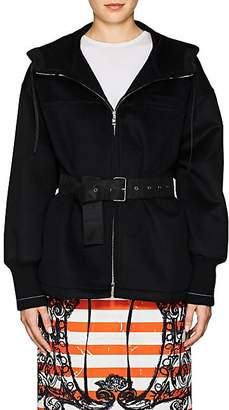 Prada Women's Belted Wool-Blend Hooded Coat - Black
