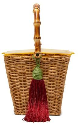 Wai Wai - Picnic Tassel-charm Wicker Bag - Yellow Multi