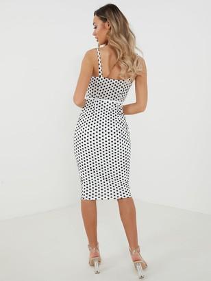 Quiz Polka Dot Corset Detail Strappy Midi Dress - Black/White