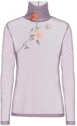 Dries Van Noten Floral mesh turtleneck top