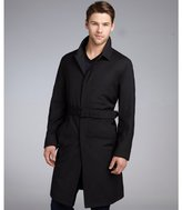 Prada black tonal check wool belted trench coat