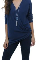 Bling Stars Women Front Cross V-Neck Long Sleeve Blouse Tee Tops T-Shirt