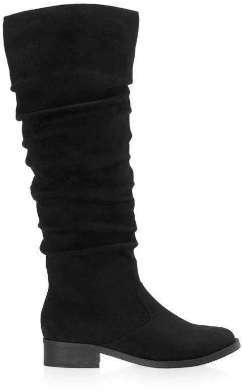 ff486f1ace5 Ruched Flat Knee Boots - UK 3 (EU 35.5) - Black