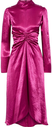 Sies Marjan Nara Ruched Washed-satin Dress
