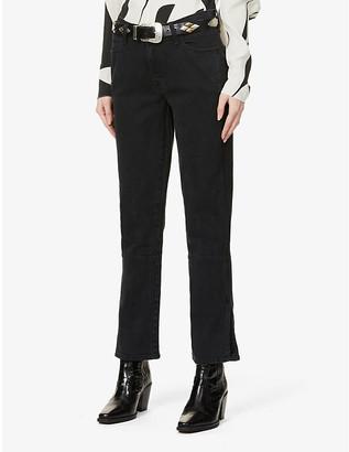 J Brand Split-hem straight-leg mid-rise stretch-denim jeans