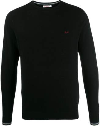 Sun 68 contrast cuff embroidered jumper