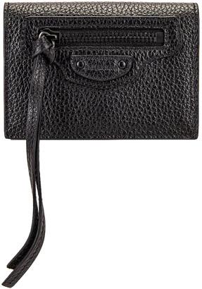 Balenciaga Neo Class Mini Wallet in Black | FWRD