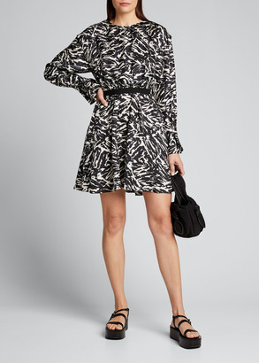 Jason Wu Zebra Print Long-Sleeve Silk Dress