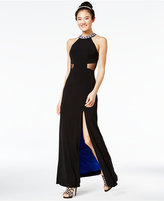 Sequin Hearts Juniors' Embellished Contrast-Lined Gown