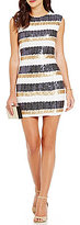 As U Wish Sequin-Embellished Stripe-Pattern Sheath Dress