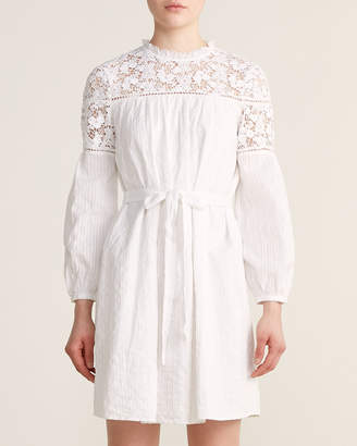 French Connection Coletta Crochet Trim Belted Summer Dress