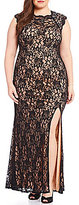 Jodi Kristopher Plus Jeweled Shoulders Long Lace Dress