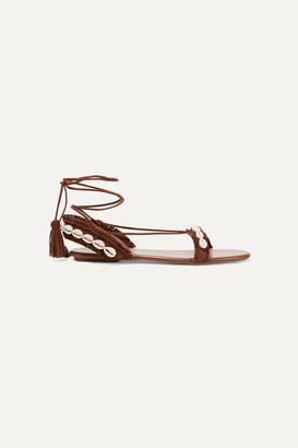 Aquazzura Riviera Shell-embellished Suede Sandals - Brown