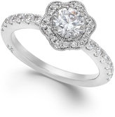 Marchesa Fleur by Certified Diamond Flower Engagement Ring in 18k White Gold (1-1/4 ct. t.w.)
