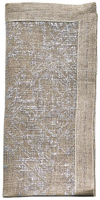 Kim Seybert Set of 4 Distressed Dinner Napkin - Natural/Silver