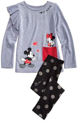 Disney Little Girls 2-Pc. Mickey & Minnie Top & Printed Leggings Set