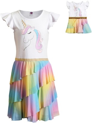 Dollie & Me Girls 4-10 Unicorn Rainbow Dress with Matching Doll Outfit