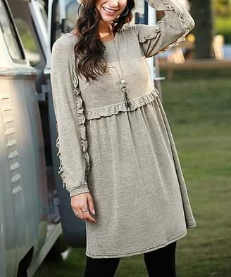 Reborn Collection Women's Casual Dresses oatmeal - Oatmeal Ruffle Empire-Waist Long-Sleeve Dress - Women & Plus