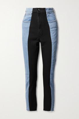 E.L.V. Denim Net Sustain The Twin Frayed Two-tone High-rise Straight-leg Jeans - Light denim