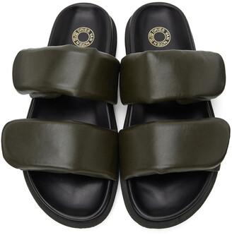 Dries Van Noten Khaki Leather Slip-On Sandals