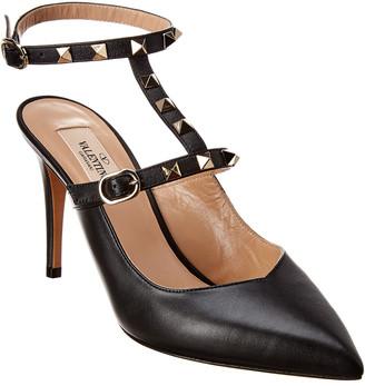 Valentino Rockstud 90 Leather Ankle Strap Pump