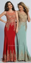 Dave and Johnny Romantic Sheer Embroidered Evening Dress with Sweep Train