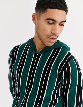Brave Soul vertical stripe knitted hoodie