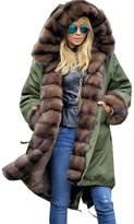 Roiii Women Luxury Winter Long Warm Thick Parka Cafe Faux Fur Jacket Hood Coat