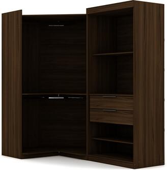 Manhattan Comfort Set Of 2 Mulberry Open 2-Sectional Corner Closets