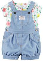 Carter's Baby Girl Floral Tee & Denim-Like Shortalls Set
