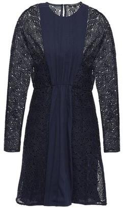 Maje Guipure Lace-paneled Pleated Crepe Mini Dress