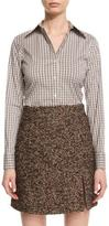 Michael Kors Long-Sleeve Plaid Button-Down Blouse, Brown