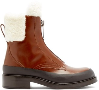 Chloé Roy Shearling-lined Leather Boots - Brown