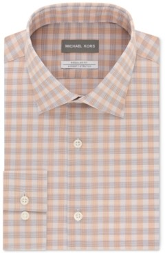 Michael Kors Men's Classic/Regular-Fit Airsoft Non-Iron Performance Stretch Check Dress Shirt